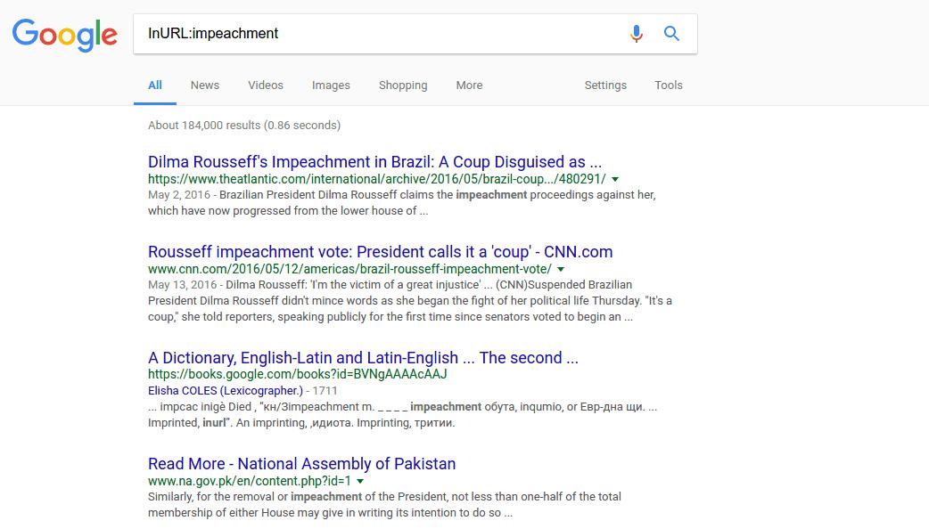 InURL – google tip