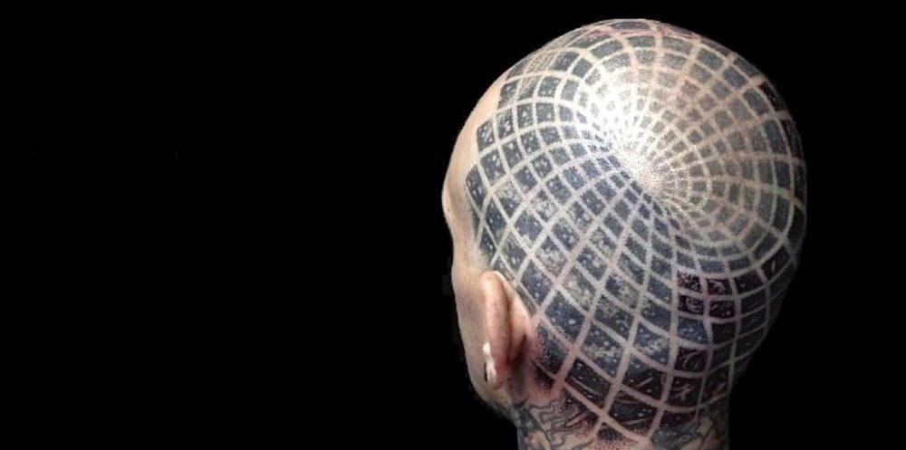 Warped space skull cap tattoo