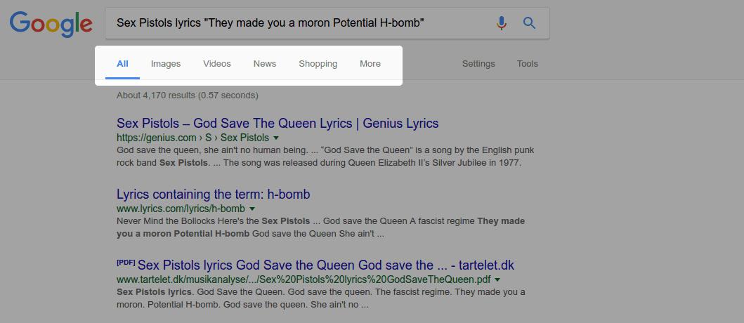Use Tabs – google tip