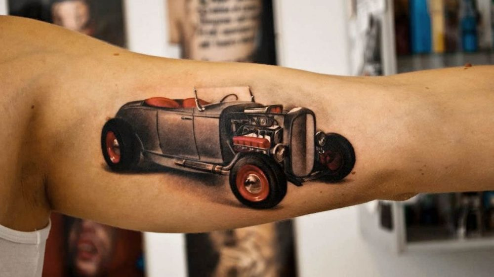 Photo Realism - Old time hot rod 3D tattoo