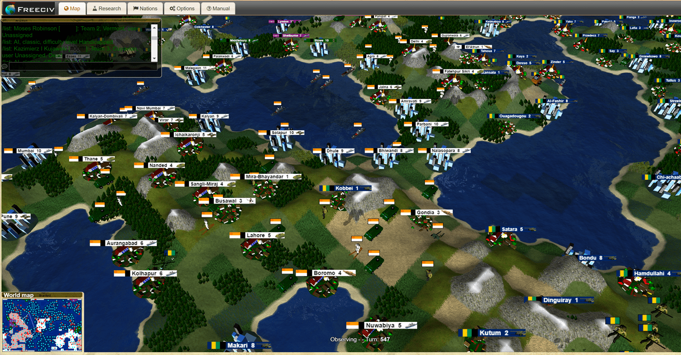 Freeciv-web – browser game