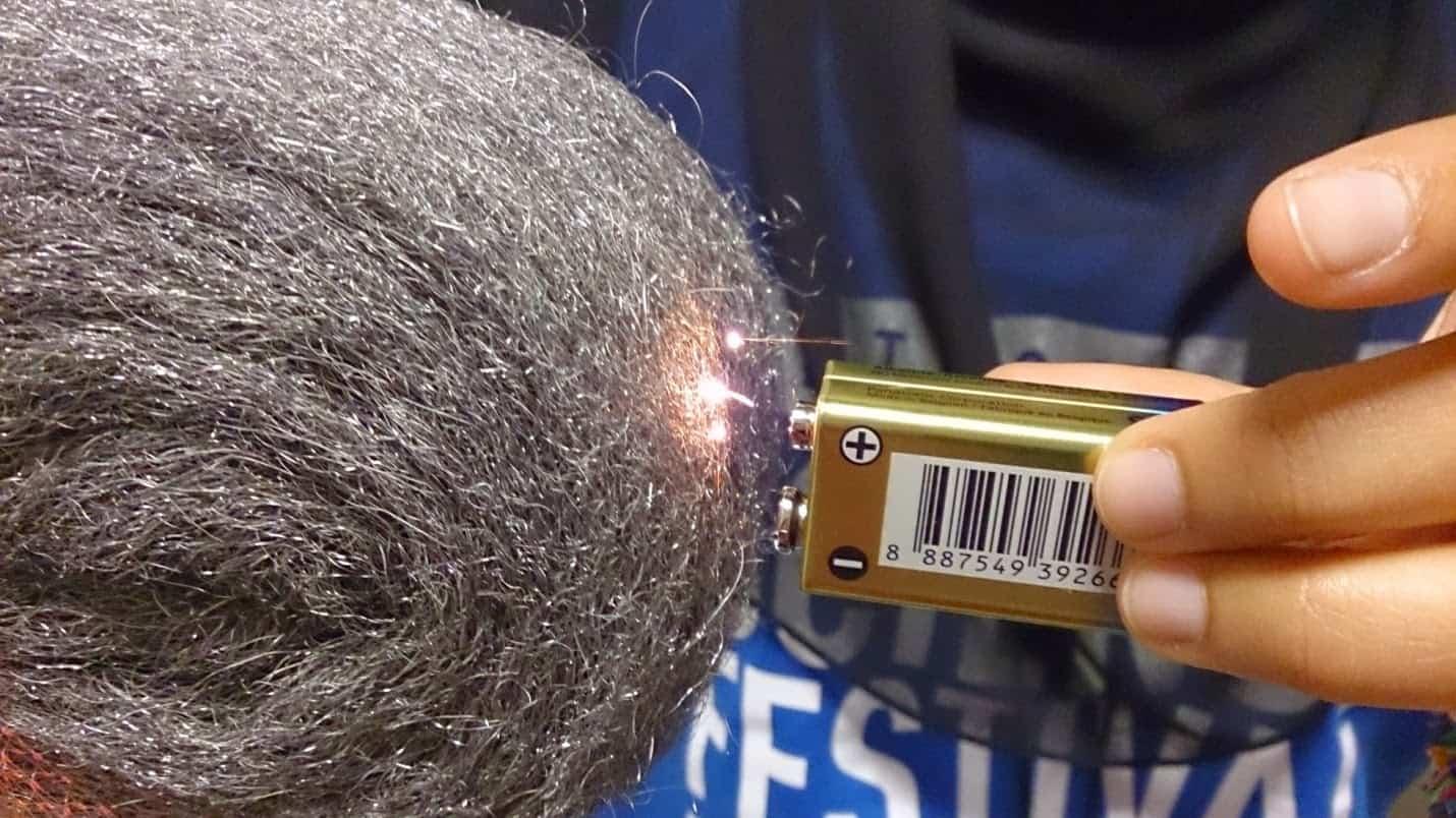 Batteries & Steel Wool – start a fire