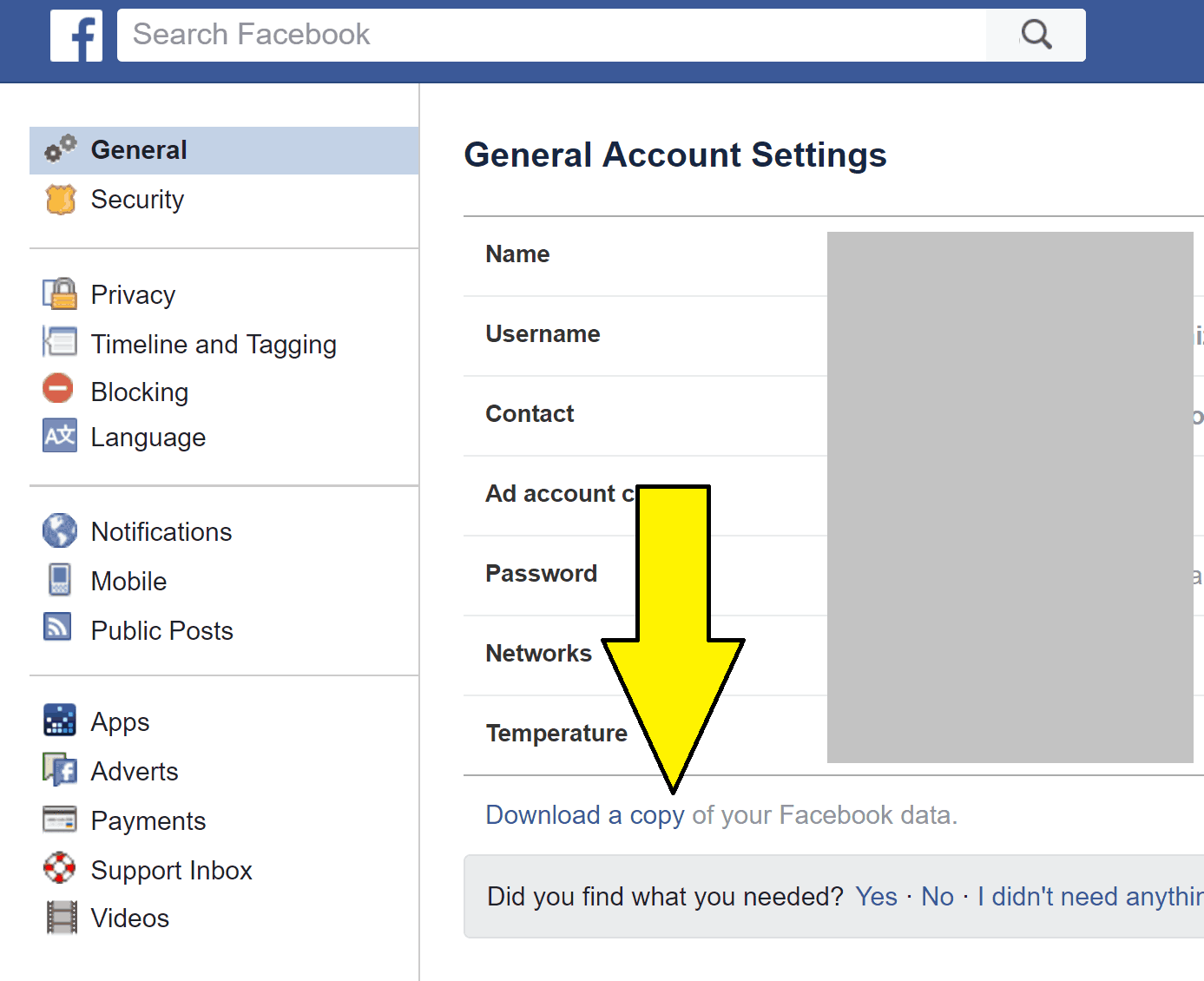 Download a copy of your Facebook data – trick