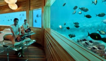 Huvafen Fushi Maldives underwater hotel 345x200 Down Where Its Wetter: The 9 Best Underwater Hotels