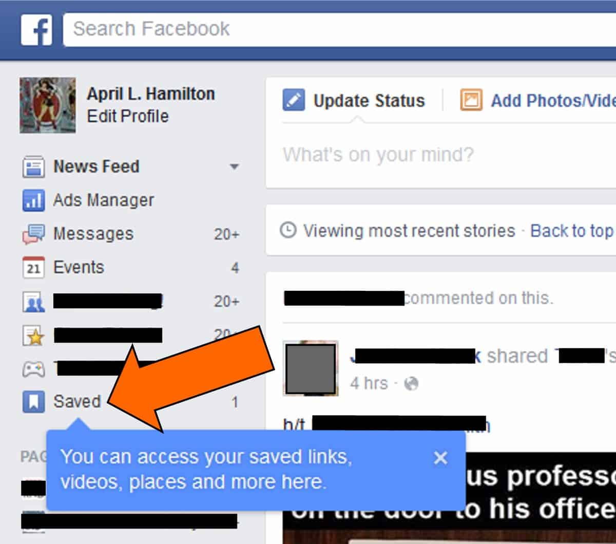 Save Items On Your Feed – facebook trick