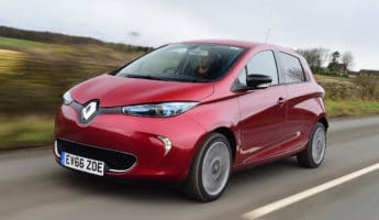 Renault Zoe electric car 345x200 Work the Wire with the 12 Best Fully Electric Cars On The Road