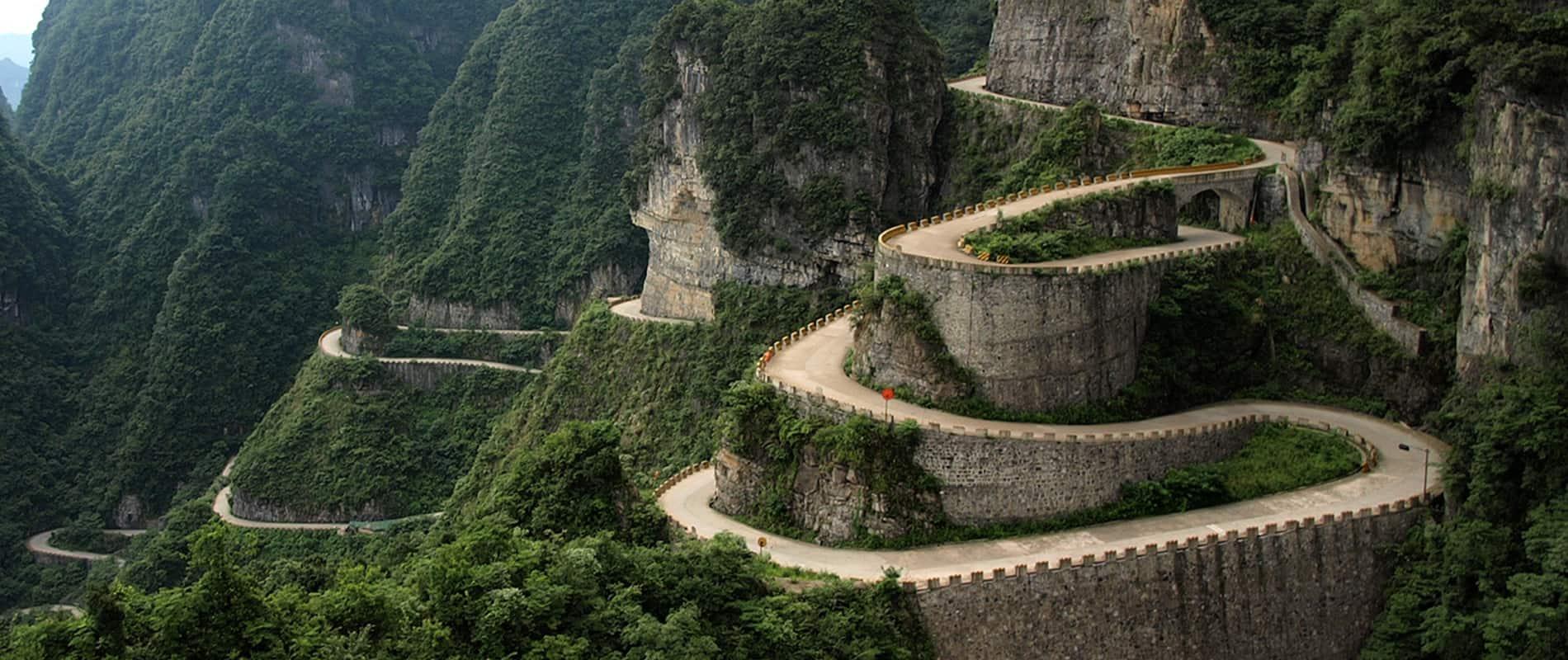 Tianmen Mountain Road, Hunan, China – road to drive