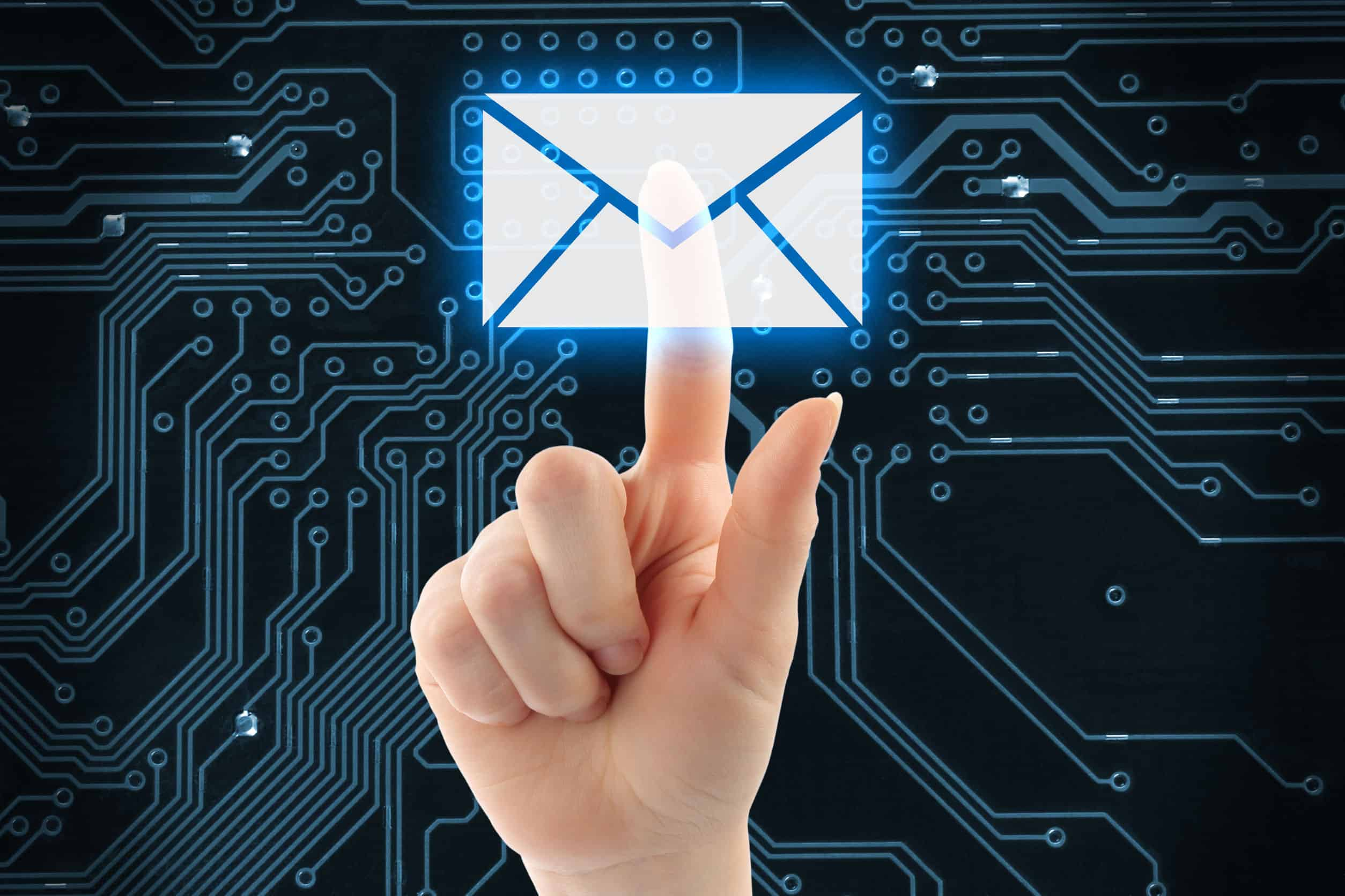 34624378 – hand pushing virtual mail button on digital background