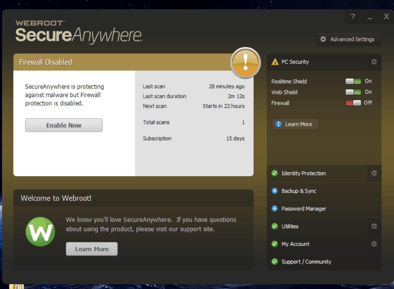 Webroot SecureAnywhere – antivirus software