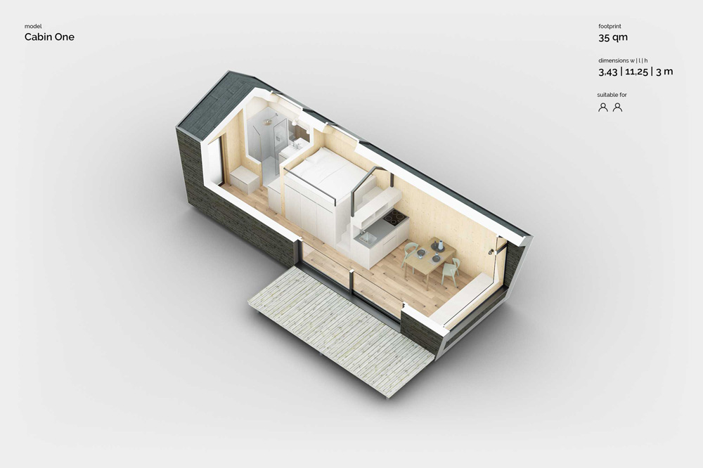 Cabin One Minimal House – 3D plan