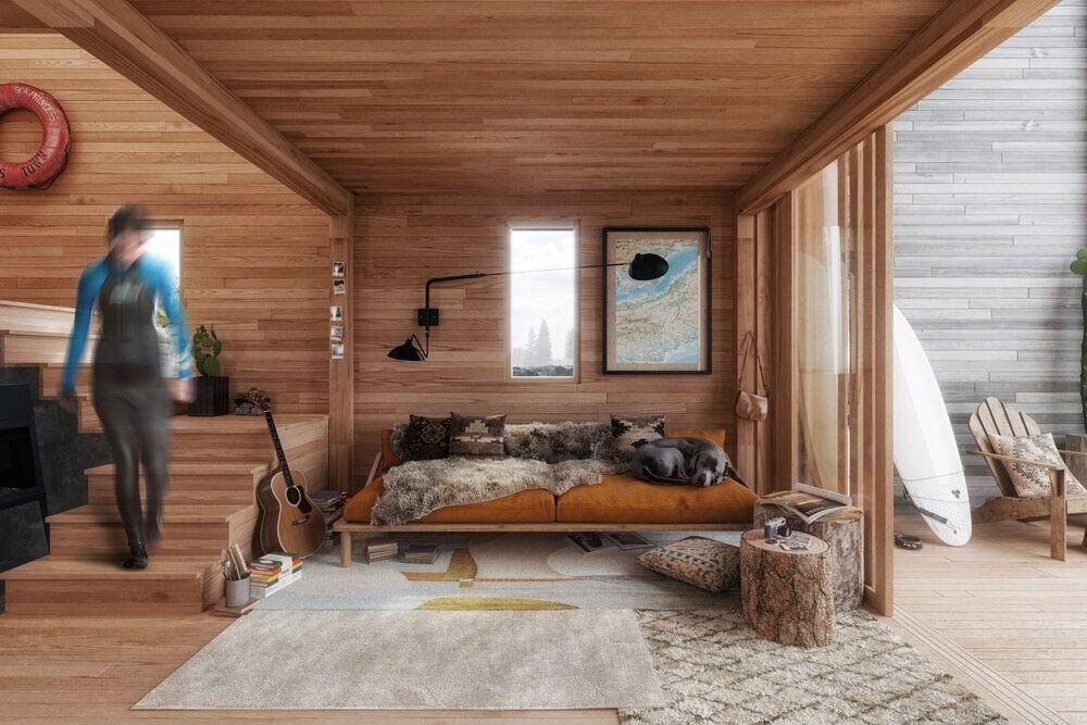 System 02 prefab cabin living area