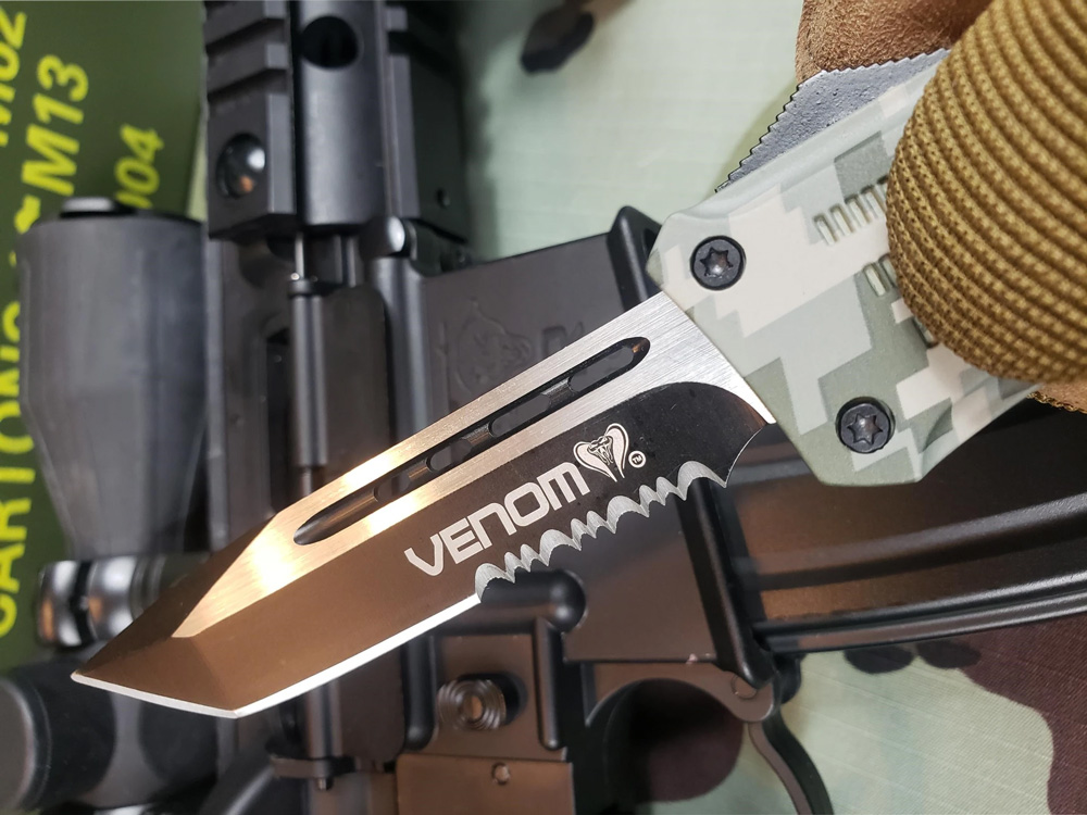 Venom 3TR Tactical Auto OTF Knife - Tanto Partial Serr