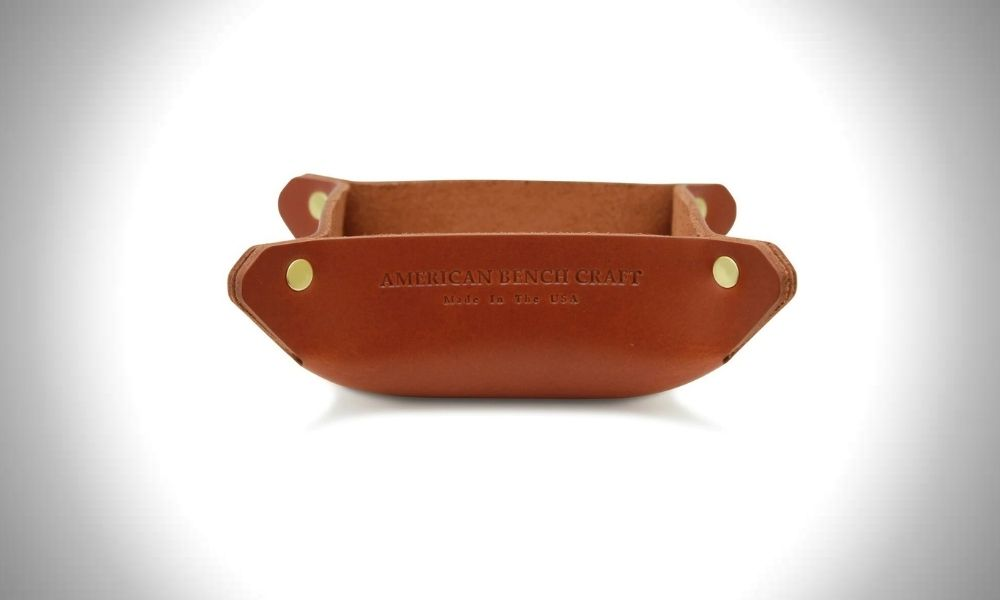 American Bench Craft Leather Catchall Valet Tray