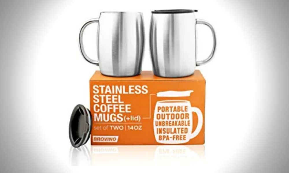 Brovino Stainless Steel Camping Mugs
