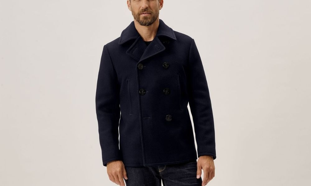 Buck Mason Melton Admiral Peacoat The 8 Coolest Mens Peacoats to Wear in 2021 (Buying Guide)