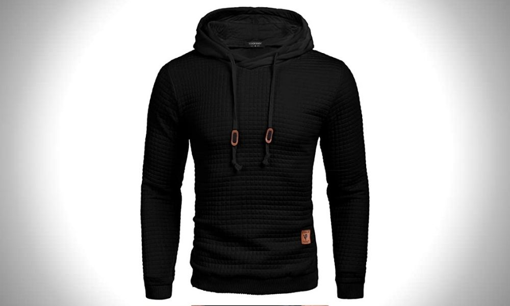 Coofandy Men's Hooded Plaid Jacquard Pullover