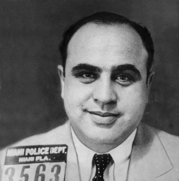 Mug shot of Capone in Miami, Florida, 1930
