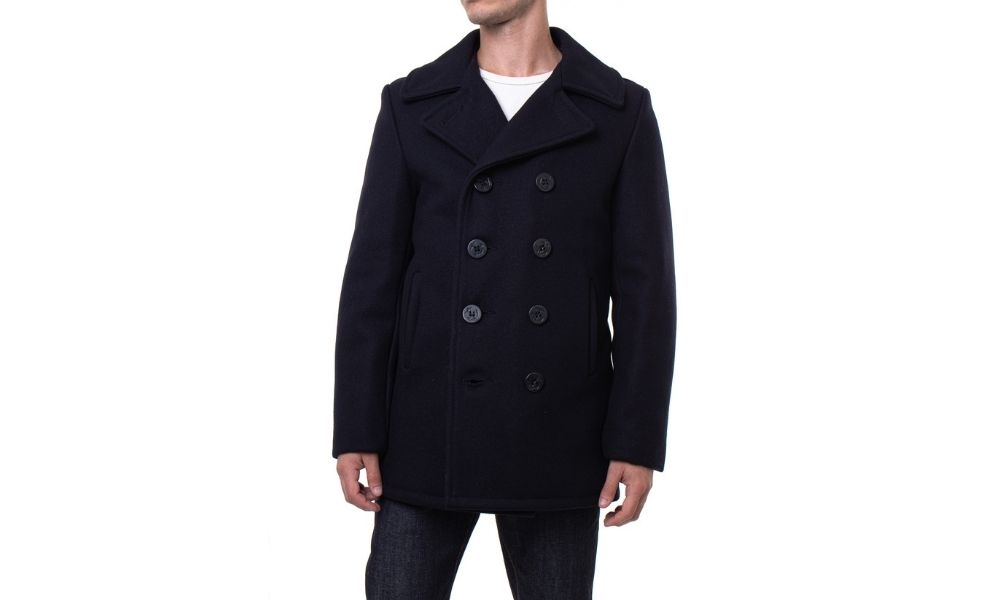 SCHOTT NYC Classic Melton Wool Navy Peacoat