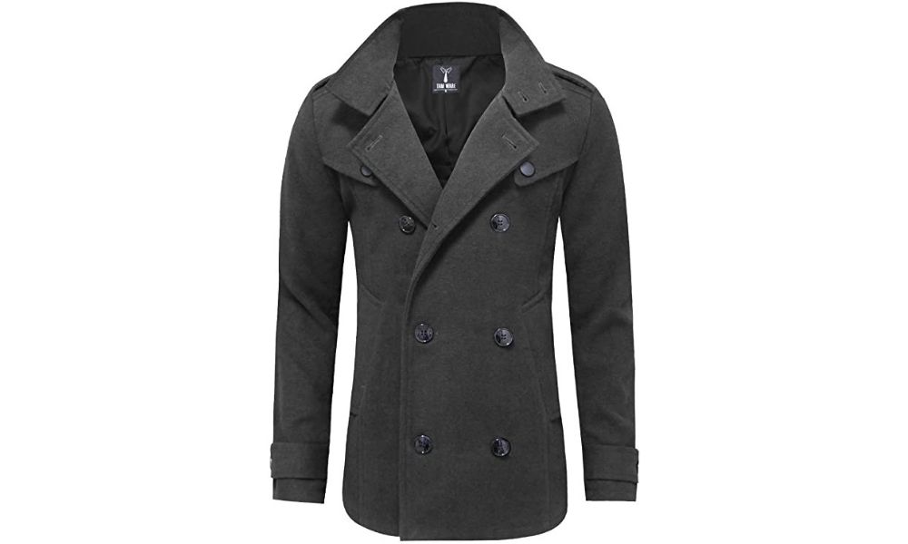 TAM WARE Men's Classic Wool Double Breasted Pea Coat
