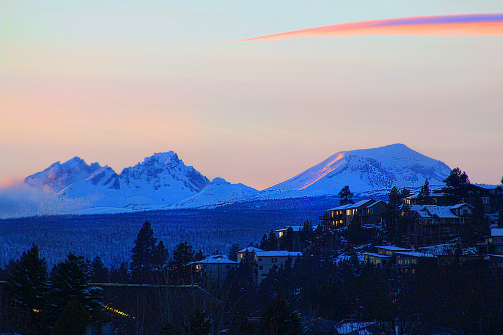Three Sisters mountains over Bend, Oregon