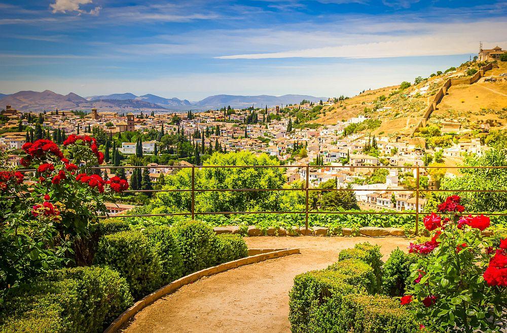 Generalife gardens and city of Granada, Spain