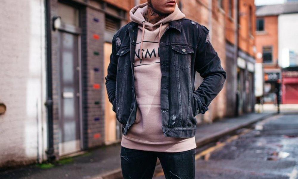 Slim hoodies and denim jacket