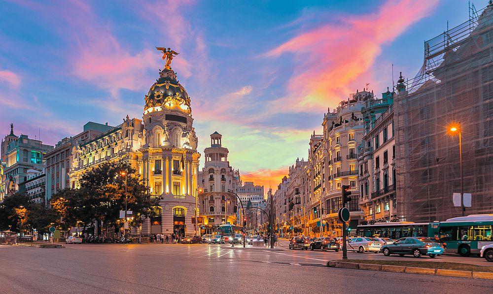 Madrid city gran via street twilight , Spain