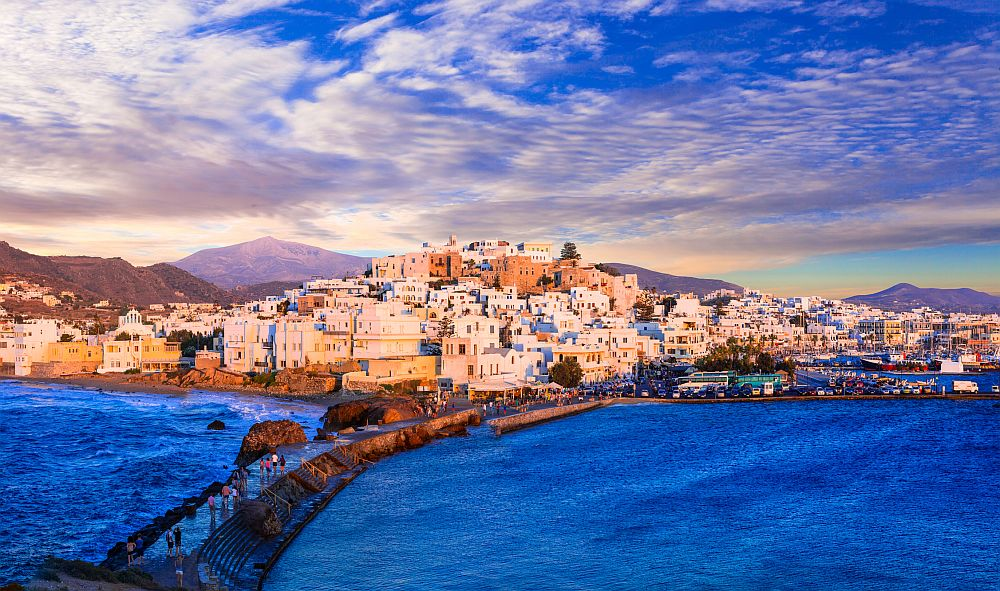 Naxos island over sunset, Greece
