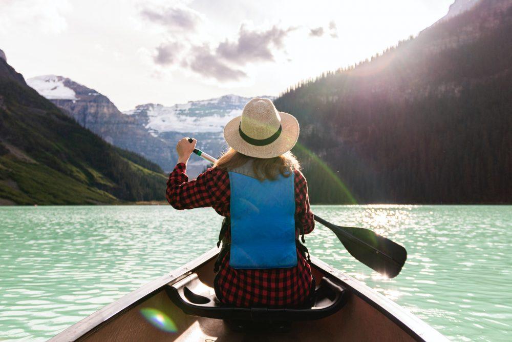 Kayaking on gorgeous blue lake waters - Kayaking date
