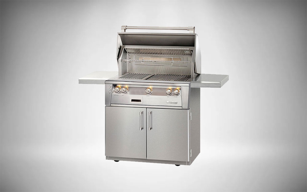 The Alfresco ALXE natural gas grill with rotisserie