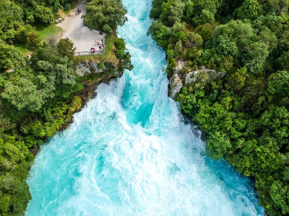 Huka Falls waterfall in Wairakei near Lake Taupo in New Zealand