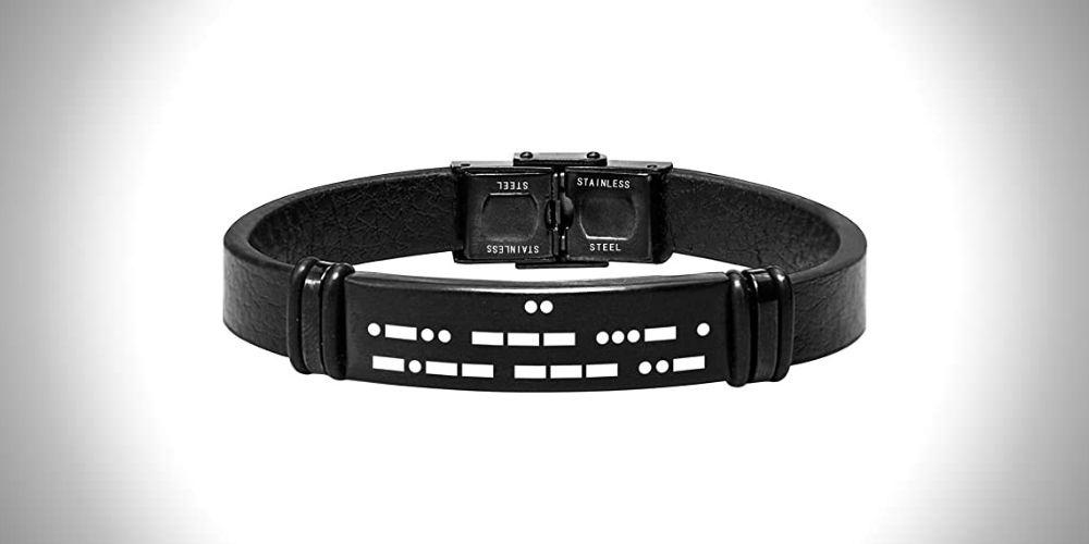 Malihome Morse Code Engraved Leather Bracelets for Men