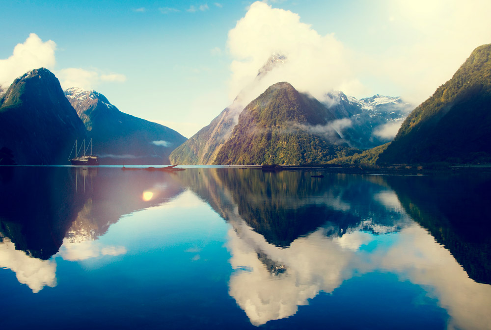 Milford Sound Fiordland New Zealand Rural Nature Concept
