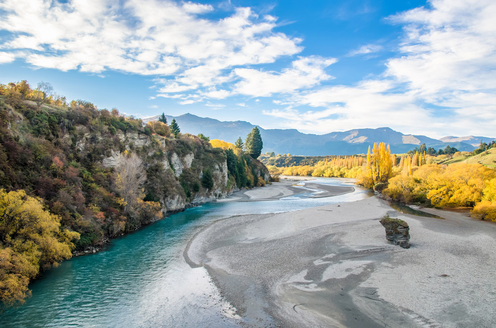 Otago Region – View from the Historic Bridge over Shotover River in Arrowtown
