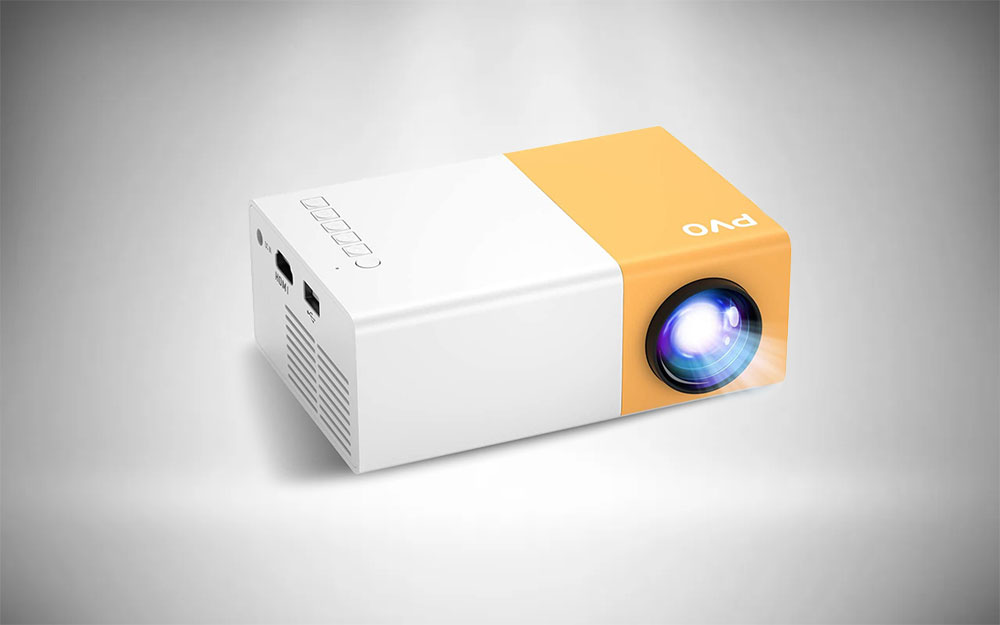 Funky yellow and white PVO YG300 mini projector
