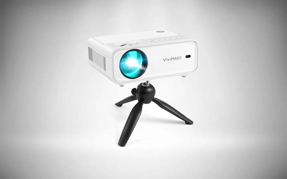 ViviMAGE Explore 2 Mini Projector on its tripod