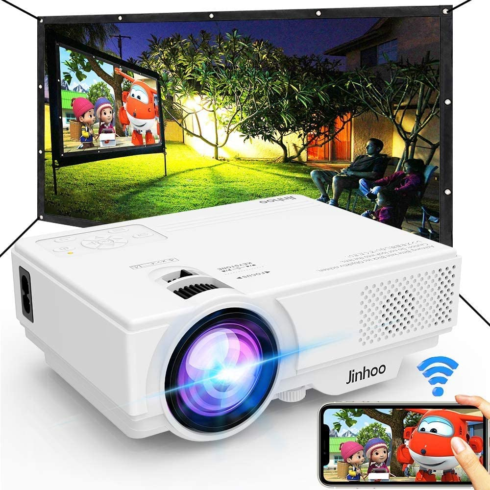 Jinhoo Wi-Fi equipped projector with included screen