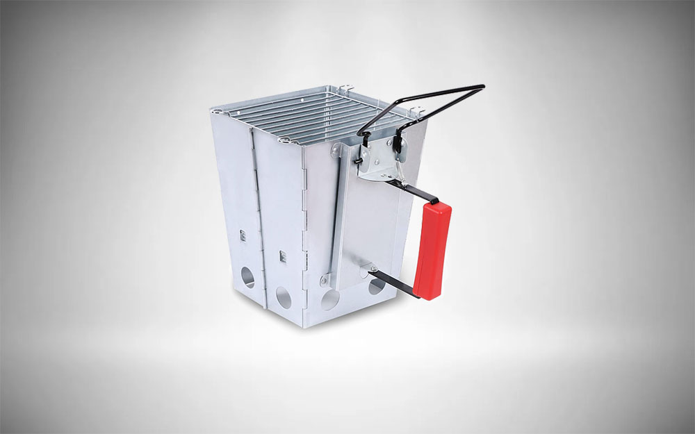 REDCAMP Collapsible Charcoal Chimney Starter with top grill grate