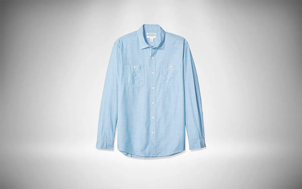 Amazon Essentials Long Sleeved Chambray Staple Shirt for Men