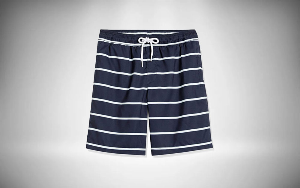 Amazon Essentials - Quick-Dry Swim Trunks in navy blue and white stripes