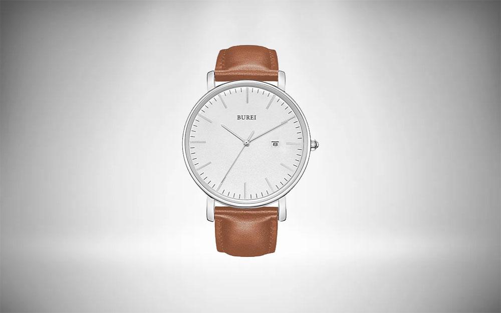 BUREI Minimalist Analogue Wrist Watch for Men's Style