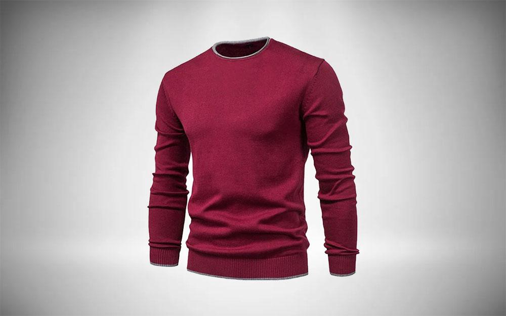 Esobo Knitted Crew Neck Sweater for Mens Minimalist Wardrobe