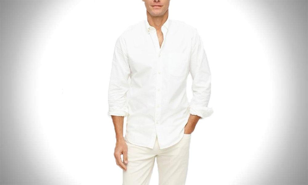 J.Crew Broken-in White Oxford Shirt with Organic Cotton