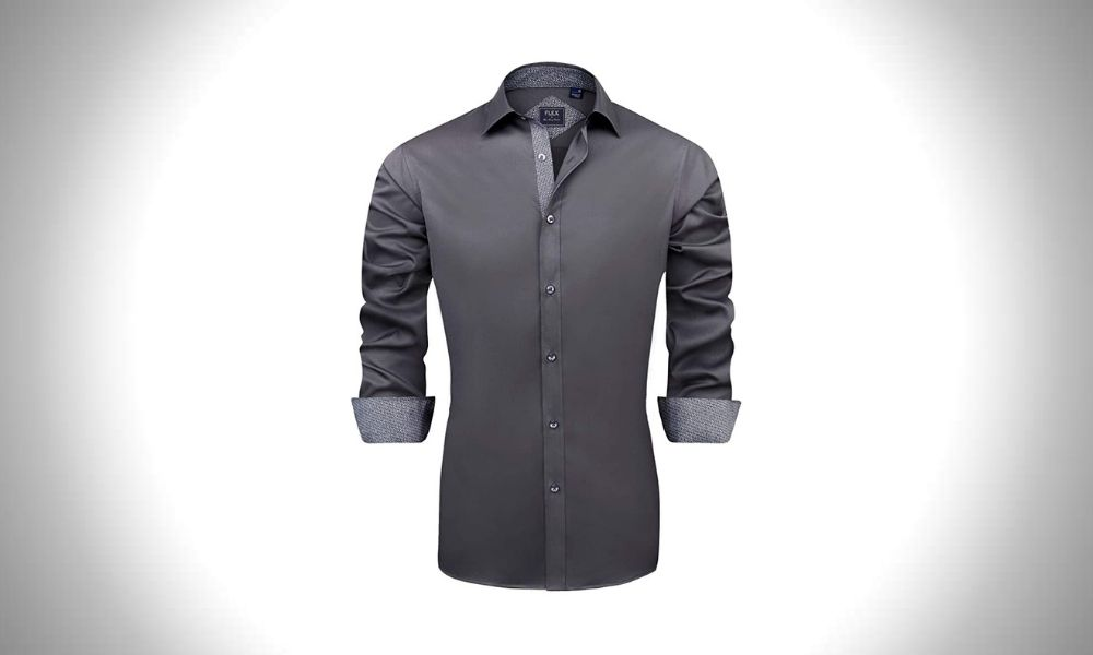 J.VER Men's Casual Long Sleeve Stretch Dress Shirt