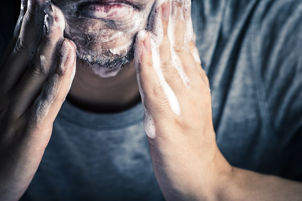 Mens beard dye – finish off with a face wash