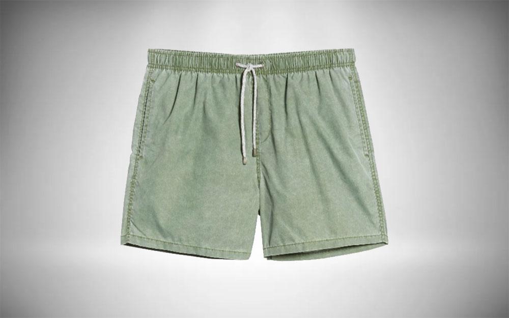 Vintage Summer - Solid Washed Swim Trunks in washed pale green