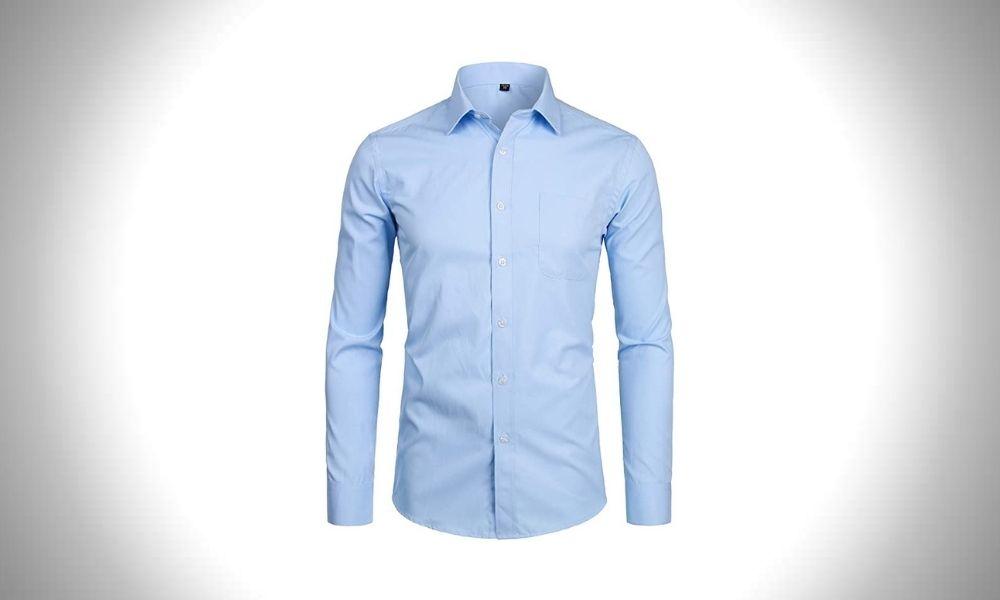 ZEROYAA Men's Long Sleeve Dress Shirt