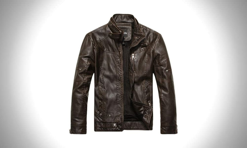 Chouyatou Vintage Men's Faux Leather Biker Jacket