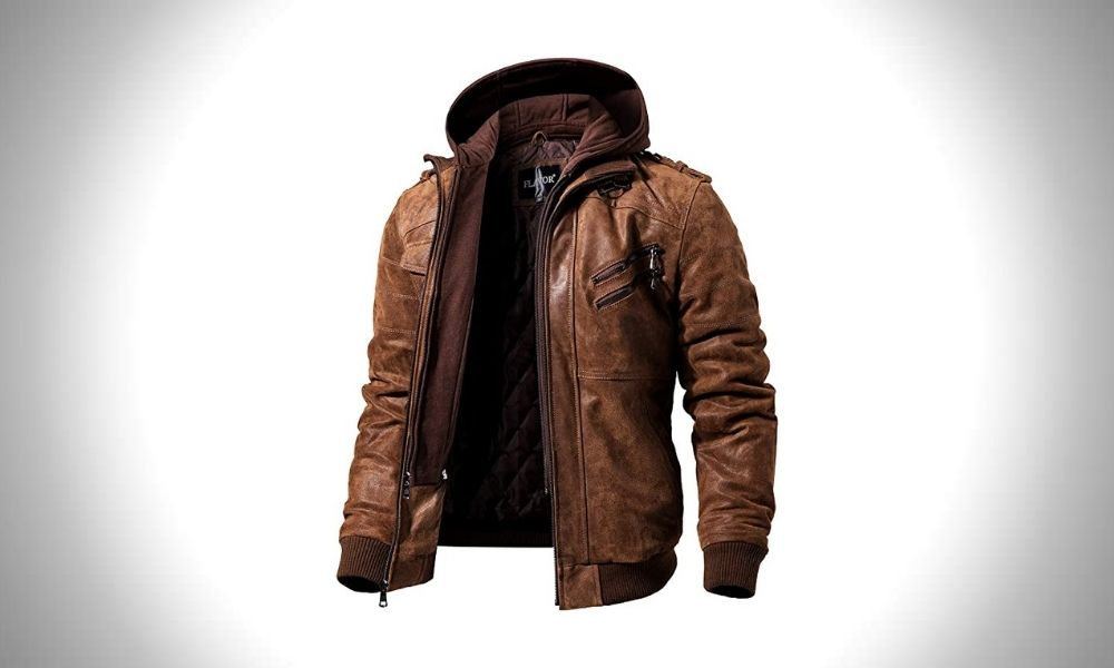 FLAVOR Genuine Leather Motorcycle Jackets with Hood