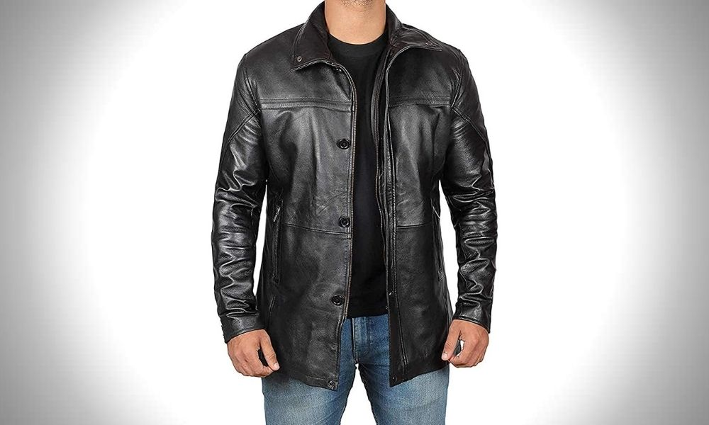 Fjackets 3/4 Length Black Leather Coats for Men